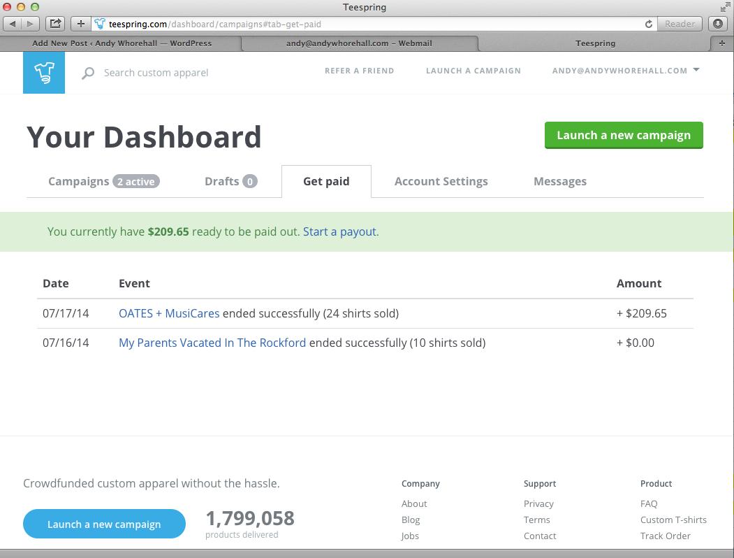 Teespring Dashboard - Profits OATES